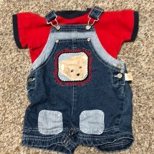 Blue Jean Teddy Matching Sets - 12M Blue Jean Teddy overalls